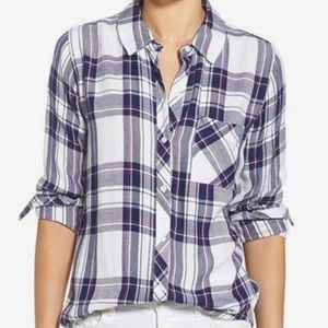 Rails flannel button down orchid navy white size s